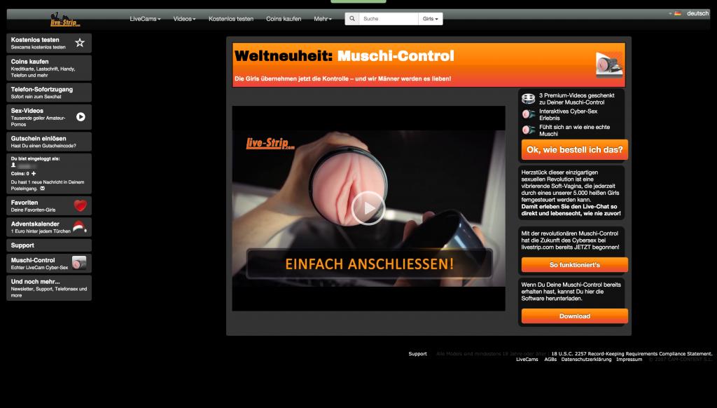 Sexcam Portal LiveStrip.com - Wie bestelle ich meine Muschi-Control?