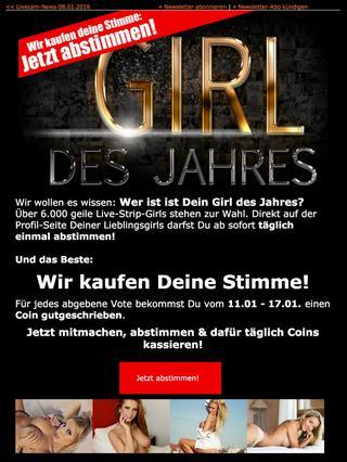 LiveStrip Newsletter - Vote für das Girl des Jahres